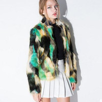 Multicolor Mosaic High Collar Leather Grass Jacket