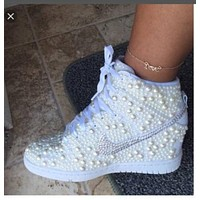Custom White Pearl Wedding Nike Dunk Hi Wedges