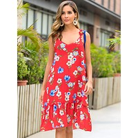 Floral Print Flounce Hem Dress With Crochet Strap