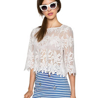 White 3/4 Sleeve Sheer Lace Crop Top