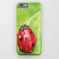 Lady Bug ,   Art Watercolor Painting print by Suisai Genki  iPhone & iPod Case by SuisaiGenki