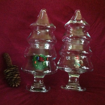 Glass Pine Tree Dishes Vintage Clear Glass Covered Fir Tree Candy Condiment Pedestal Dishes ChristmasTree Glass Containers Christmas in July