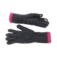 Tegan Texting Wool Gloves in Charcoal/Hot Pink - WorldFinds (W)
