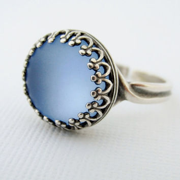 Blue Moon Ring, Silver Blue Stone Ring, Light Sapphire Ring, Adjustable Rings, Round Blue Glowing Ring, Moon Ring