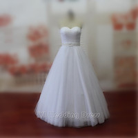 Simple A-line Wedding Dress Sweetheart Criss-cross Bridal Dress Floor Length Bridal Gowns Lace-up Tull Wedding Gown Plus Size