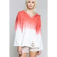 Washed Frenzy Tie Dye French Terry Top - Golden Poppy