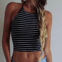 Women Summer top cropped Women Sexy Tops Black Stripe Sleeveless Halter neck tank top Vest Bustier Bra