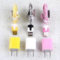 Total 6pcs/Lot!3PCS USB Data Charging Cable Cord And 3PCS USB Power For Iphone 4/4s