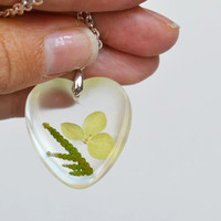 Real Flowers in Resin. Pressed Flower Botanical Jewelry. Hydrangea and Green Cedar Foliage. Flora Heart Necklace.