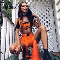 Women 2 Pieces Sets Sexy Buckle Bralette Tank And Shorts Fashion Summer Ladies Neon Orange Bandage Cropped Top Beach Wear Femme