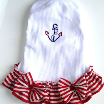 Dog Dresses Sail Away All Sizes Red Stripe