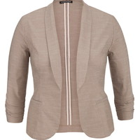 Plus Size - Oatmeal Solid Open Front Blazer With Faux Pockets - Beige