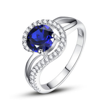 Sterling Silver 2 Carats Round Sapphire Ring