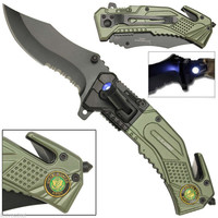 US Army Spring Assisted Opening LED Light Tactical Rescue Pocket Folding Knife
