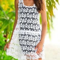 White Floral Lace Crochet and Black Inner Set