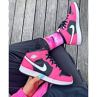 NIKE Air Jordan 1 Mid Pinksicle AJ1 Women's basketball shoes
