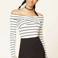Striped Surplice Front Top