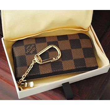 Onewel Louis Vuitton LV Fashion Household Zipper Key Pouch Clutch Bag Coin Purse Wristlet Coffee Tartan