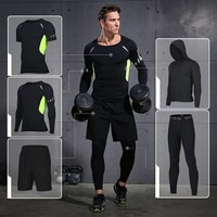 Vansydical Mens Running Suit Fitness Tracksuit Gym Sports Suits Running Sets Compression Tights Workout Sportswear Jogging Suit