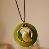 Cute Bird Wood Pendant Necklace