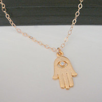 14 Kt Gold-Filled Crystal Hamsa Hand Necklace, Dainty Everyday Necklace, Fashion Trendy Jewelry, Evil Eye Necklace, Good Luck Talisman