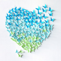 20 PCS 3D Wall Stickers Paper Butterfly Fridge Wedding Decoration Home Decor [9431473604]