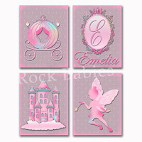 Nursery princess art pink grey castle wall decor baby girl room decoration personalized poster custom name toddler fairy artwork shower gift