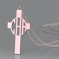 Monogram necklace plated in rose gold --1.25 inch nameplate necklace for birthday present.