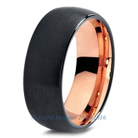 Rose Gold Chromacolor Black Tungsten Ring