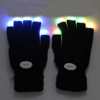 LED Rave Light Finger Lighting Mitt Gloves Glow 7 Mode