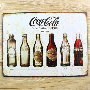 Coke vintage tin signs retro metal sign antique imitation iron plate painting decor the wall of bar cafe pub shop restaurant