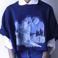 Cropped Short Sleeve Wolf Jumper from IngridMoody