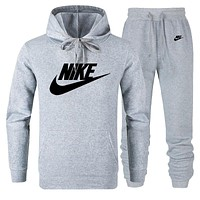 NIKE Autumn And Winter Fashion New Letter Hook Print Sports Leisure Hooded Long Sleeve Sweater Top And Pants Two Piece Suit Gray