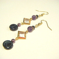 Black and purple earrings, black and purple earrings with square parts, czech beads and amethyst earrings, gift for her, earrings for her.