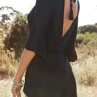 Black V-Neck Backless Flare Sleeve Romper