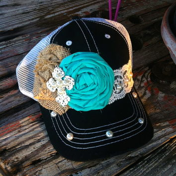 Burlap/Turquoise lace hat from PeaceLove&Jewels