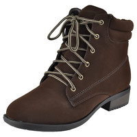 Womens Ankle Boots Lace Up Ankle Padded Hiking Casual Comfort Shoes Brown SZ