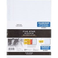 Five Star® Reinforced Filler Paper, White, College Rule, 8-1/2 x 11, 100 Sheets