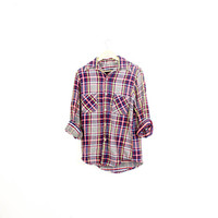 Lived-in Sun Washed Vintage Flannel Shirt |Plaid Grunge| Festival | Boho | M Blue | Red | Yellow | Buy 2 Get 1 Free