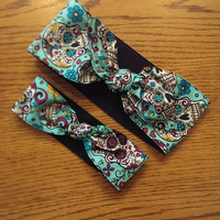 Mother and Daughter Matching Set 1940's style vintage inspired head wrap scarf rockabilly psychobilly aqua day of the dead sugar skull print