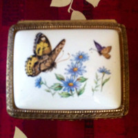 Vintage Porcelain and Gold Tone metal Jewelry Box with Butterfly Motif