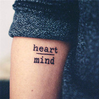 Waterproof Temporary Tattoo Stickers Courage Fear Heart Mind Letters Design Water Transfer Tattoo Harajuku Fake Tattoo