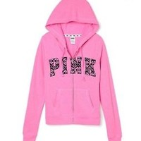 New Victorias Secret Pink Aztec Zip Hoodie Jacket S Small
