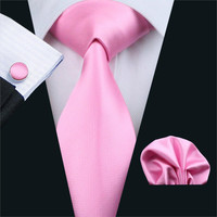 FA-401 Men`s Tie Pink Solid Silk Jacquard Woven classic Tie Hanky Cufflinks Set For Men Business Wedding Party Free Shipping