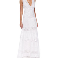 Deep-V Cotton Voile Eyelet Gown