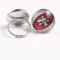 Sport Fashion San Francisco 49ers Ring Jewelry 18mm  American Football Team Logo Charm Ring for Men Women 10pcs/lot