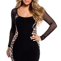 Sexy Leopard and Black Long Sleeve Mesh Silhouette Dress