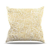 "Pom Graphic Design ""Inca Gold Trail"" Yellow Brown Throw Pillow"