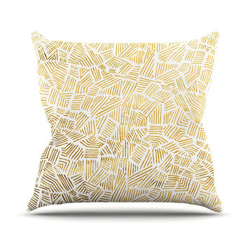 """Pom Graphic Design """"Inca Gold Trail"""" Yellow Brown Outdoor Throw Pillow"""