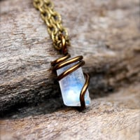 Rainbow Moonstone Jewelry - Natural Moonstone Necklace - Gypsy Boho Jewelry - Wiccan Necklace - Hippie Bohemian Jewelry - Wire Wrapped Stone